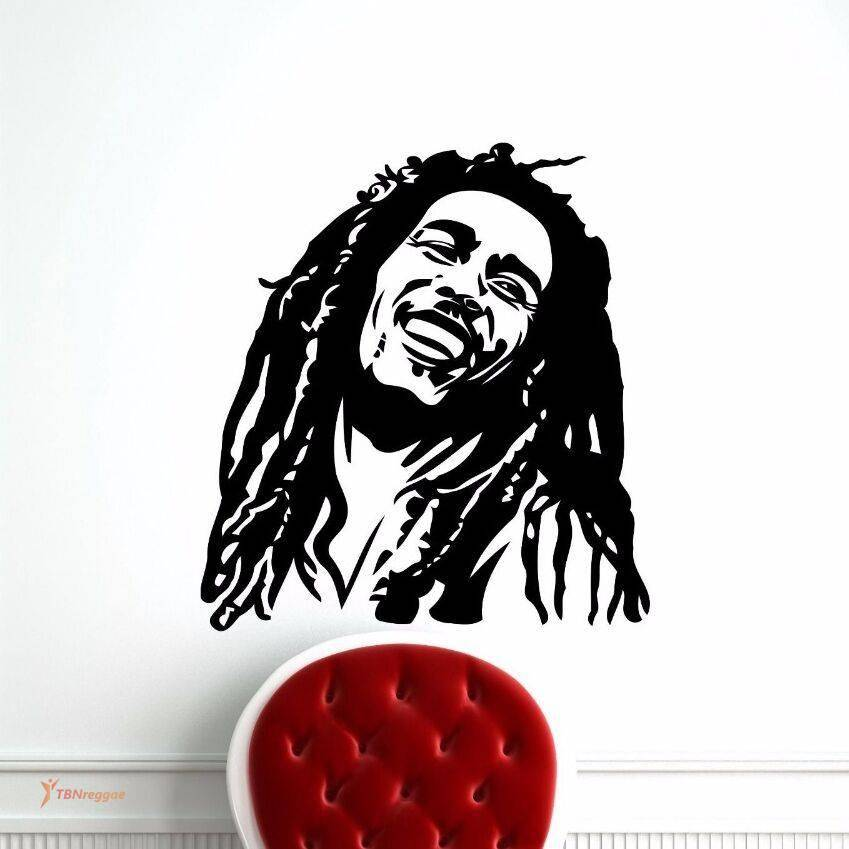 Vinyl Wall Sticker with Smiling Bob Marley Depiction Wall Decorations