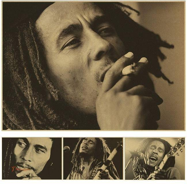 Sepia Colored Canvas Pictures with Bob Marley Depiction Wall Decorations