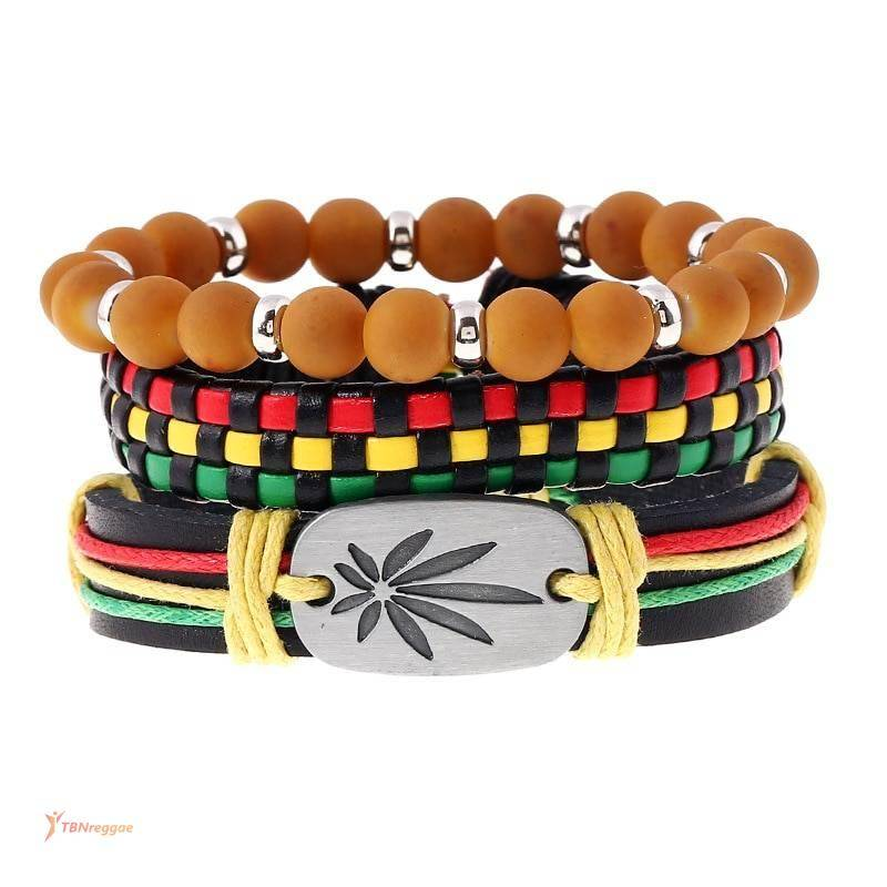 Set of Three Bracelets with Reggae Themed Design Bangles & Bracelets