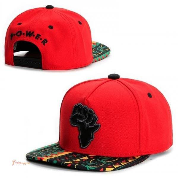 P.O.W.E.R. Printed Red Snapback Caps & Beannies