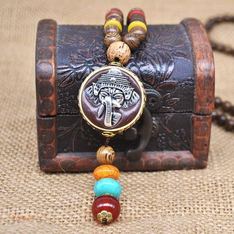 African Roots Style Wooden Men's Pendant Necklace Rasta Reggae Necklace