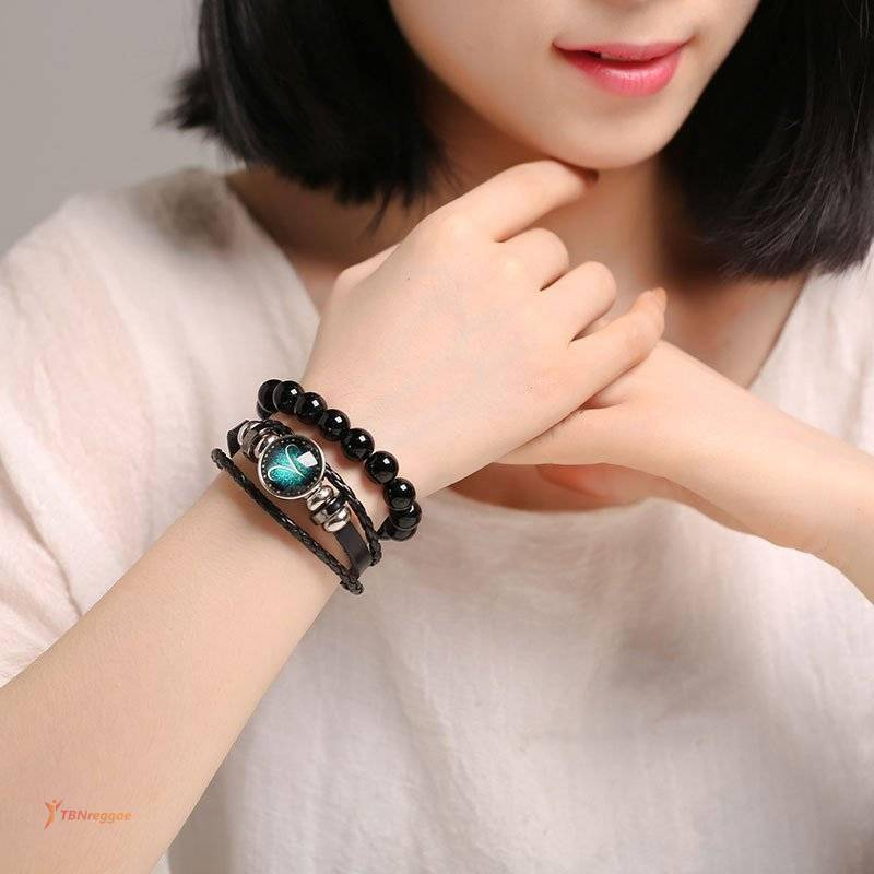 Luminous Signs of the Zodiac Decorated Leather Bracelet Bangles & Bracelets